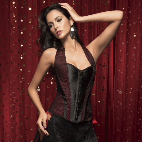 Wholesale Satin & Brocade Halter Corset OUC637