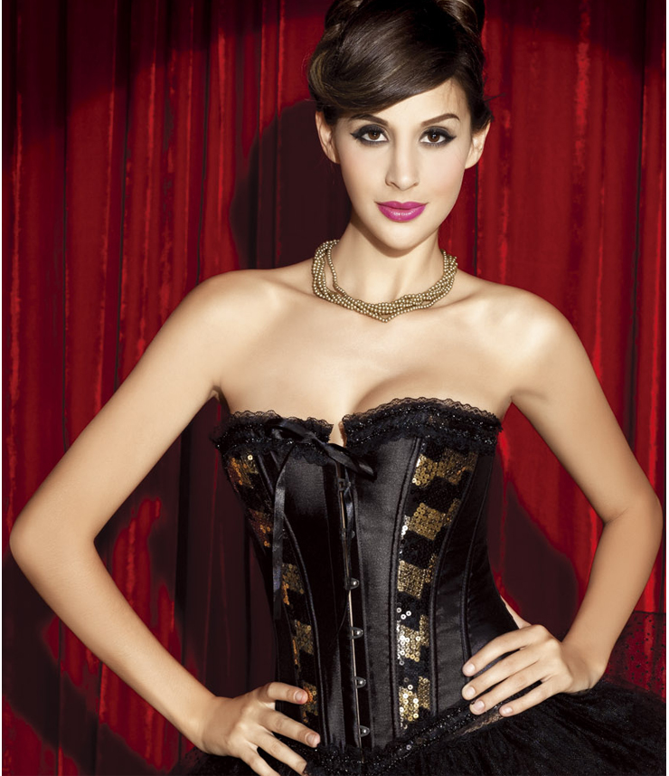 Wholesale Sequin and Satin Corset OUC792