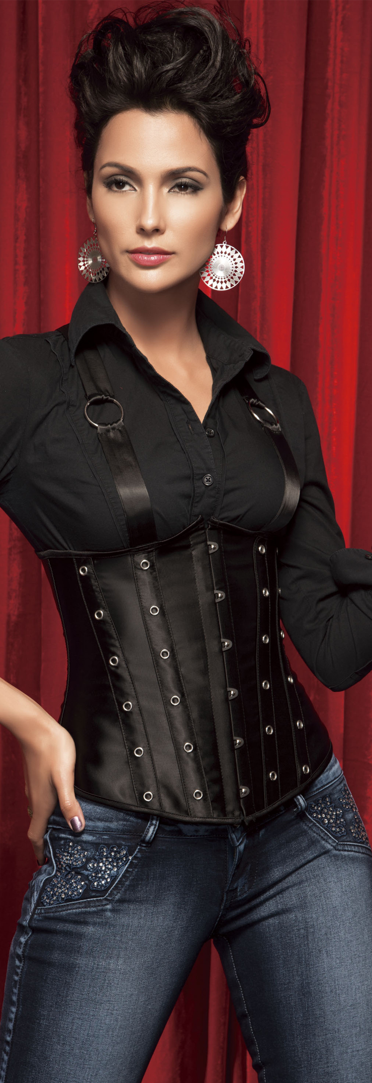 Wholesale Black Suspenders Underbust Corset UNC552